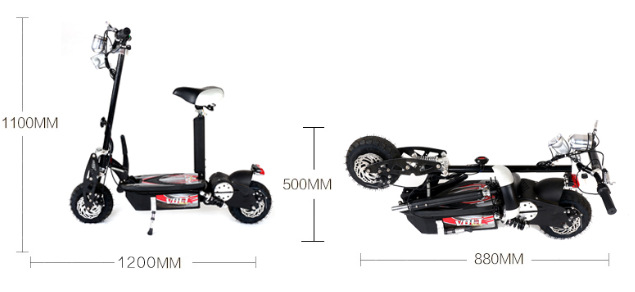 1000W 48V Folding Electric Scooter Hub Motor Folding Travel Mobility Scooter