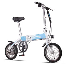 China Blue Foldable Electric Bike Adult City Electric Push Bike With Li - Ion Battery factory
