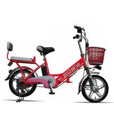 China Red Hybrid Lithium Bicycle Steel Frame Easy Bike Electric Bike 35Km - 40 Km supplier