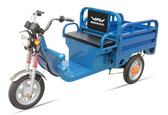 China 580W 48V / 32Ah Adult Electric Tricycles Blue Electric Cargo Tricycle Easily Loading supplier