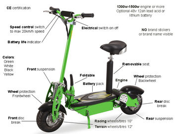 China Green Folding Electric Mobility Scooter Lightweight With Lead Acid / Lithium Battery supplier