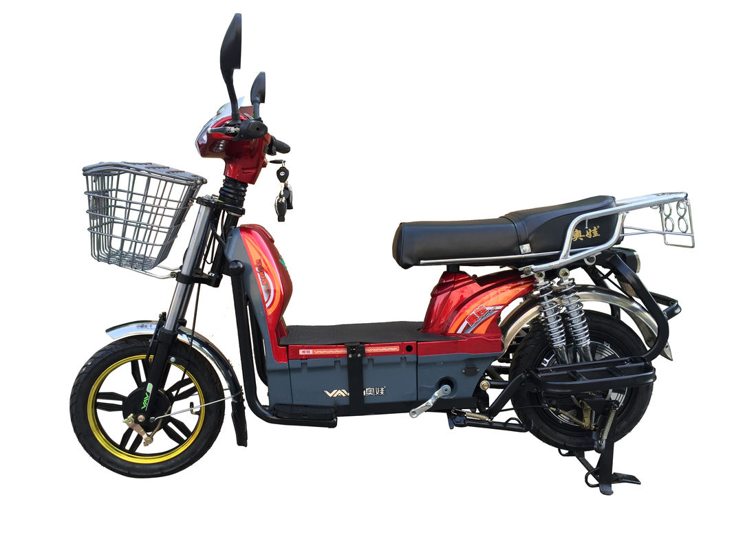 450W Adult Electric Bicycle Red Battery Operated Bikes With Motorcyle Seat Steel Frame supplier