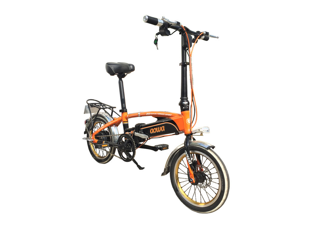 250W Collapsible Electric Bike Orange Small Commuter Electric Bike Folding supplier